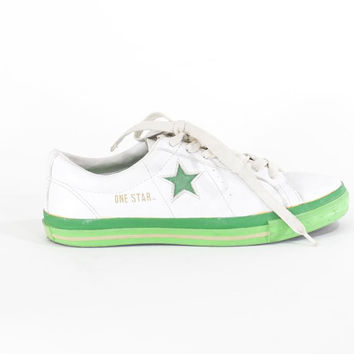 Converse One Star White Leather Tennis Shoes Unisex Mens Size 7.5 Womens Size 9