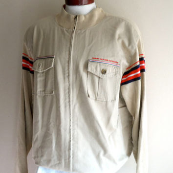 vintage 90's Tommy Hilfiger Outdoors khaki light brown embroiderd logo red white navy blue stripe cotton twill jersey knit zip up jacket