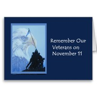 Veterans Day Card with Eagle and Iwo Jima