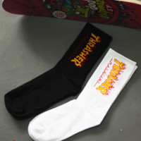 Thrasher Fashion Flame Printed Cotton Unisex Lovers' Sports Socks A set for 2 pairs