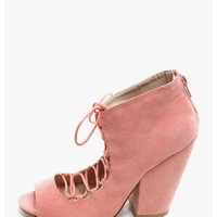 Salmon Mary Lace-Up Open Toe Booties | $10.00 | Cheap Trendy Heels and Pumps Chic Discount Fashion f