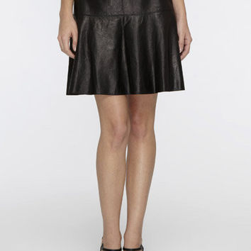 Leather Drop-Flare Skirt | Vince