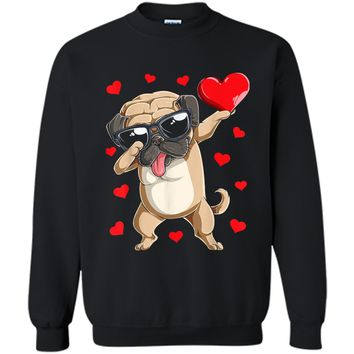 Dabbing Pug Valentines Day  Dog Lover Heart Boys Love Printed Crewneck Pullover Sweatshirt