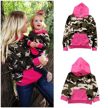 Mother and Daughter Matching Sweatshirt Pink and Army Camouflage Hooded