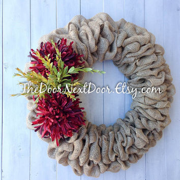 Red Floral Burlap Wreath - All Season Wreath - Elegant Wreath