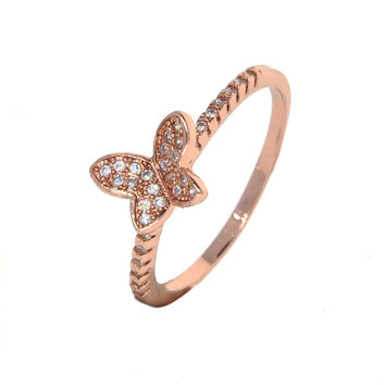Dear Deer Rose Gold Plated Butterfly Cubic Zirconia Cocktail Ring