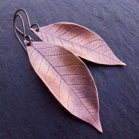 $28.00 Copper Earrings Copper Leaf Earrings by Scape on Etsy