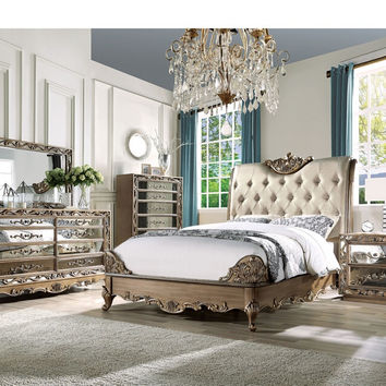 Acme 23790Q 5 pc Orianne antique gold finish wood queen bedroom set decorative carvings tufted accents
