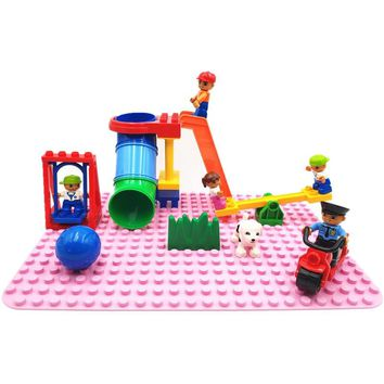 Big Size Diy Building Blocks  Accessories Tube Seesaw Swing Figure Kids Toys For Children Compatible With Legoingly Duplo Bricks
