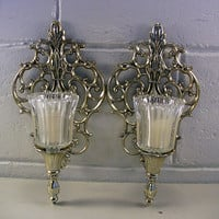 SOLD!  Vintage Gold Metal Wall Candle Sconces Elegant Tealight