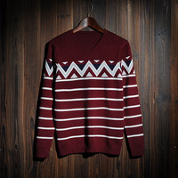 Men's Casual Ethnic Fair Isle V Neck Sweater