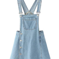 Light Blue Side Button Overall Mini Dress