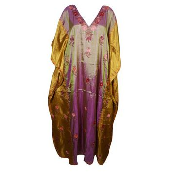 Mogul Ladies Long Kaftan Double Shaded Silk Blend Floral Embroidered Kashmiri Caftan Evening Wear Stylish Kaftan Maxi Aloha Designer Caftan Christmas Gift - Walmart.com