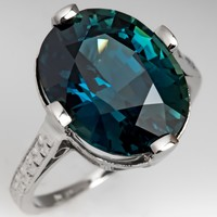 7 Carat Blue-Green Sapphire Ring Antique Platinum Engraved Mounting