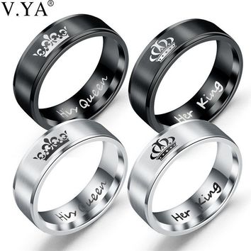 Cool V.YA Romantic Jewelry Her King His Queen Couples Crown Rings Fashion Retro 316L Titanium Steel Wedding Rings for Women Men CharmAT_93_12