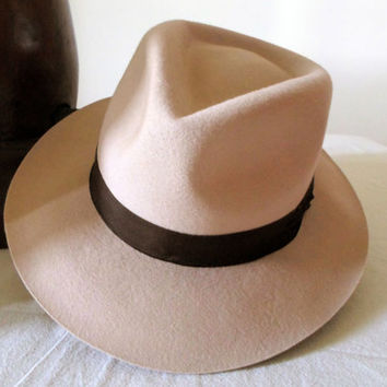 Light Camel Wool Felt Fedora - Wide Brim Merino Wool Felt Handmade Fedora Hat - Men Women
