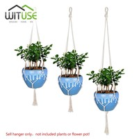 WITUSE 4x Handcrafted Macrame Plant Hanger Pot Holders 4Legs Hanging Basket Ropes Garden Home Decorative Flower Display 72-118cm