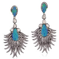Opal Pave Diamond  Dangle Earring