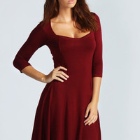 Myla Sweetheart Neck 3/4 Sleeve Skater Dress