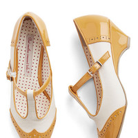 Bait Footwear Vintage Inspired Care to Dance? Wedge in Goldenrod