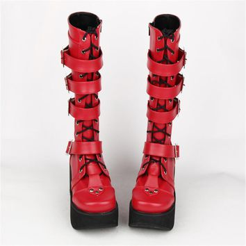 Japanese Harajuku Thick Platform Punk Goth Cosplay Boots Women Burgundy Leather Buckle