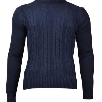 Tricots St Raphael Men's Cable Crew-Neck Sweater (Navy, S)