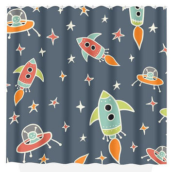 Rocket SHOWER CURTAIN Custom MONOGRAM Outerspace Boy Space Aliens Personalized Bathroom Decor Bath Beach Towel Plush Bath Mat Made in Usa