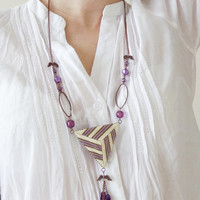 Double Sided Triangle Necklace with angel wings, Purple, Cream and Bronze 3D Geometric Peyote Triangle Pendant, Handmade Beaded Jewelry