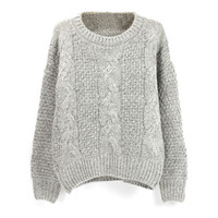 Long Sleeves Cable Knit Ribbed Sweater
