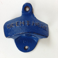 Wall mount bottle opener blue beer dad gift stock the bar cast iron rustic distressed vintage