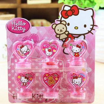 6Pcs/set Cute Hello Kitty Toys Action Figure Dolls Toys For Boys Girls Kids Christmas Gifts Classic Children Hobby Seal Stamper