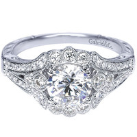 "Gabriel Amavida ""Minnie"" Round Halo Vintage Style Diamond Engagement Ring"