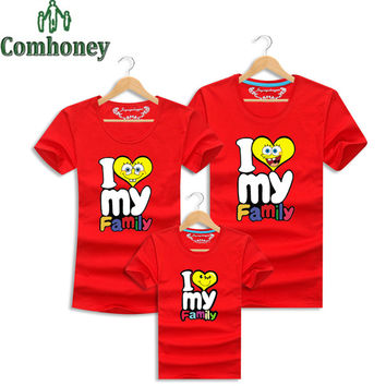Spongebob Mother and Daughter Matching Clothes Father Mom Son Baby T Shirt I Love My Family Look Summer Cartoon Outfits Clothing