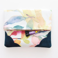 FLORA  3 / Floral silk & Natural leather folded clutch - Ready to Ship