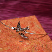 Swiftlet bird bangle in silver - Gift under 10 dollars