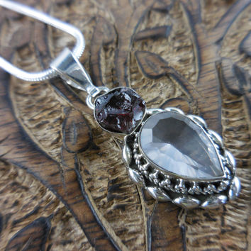 Rose Quartz and Garnet Rough Sterling Silver Pendant/Necklace