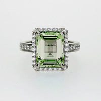 Emerald cut Peridot halo engagement ring with diamonds, white gold, halo engagement ring, peridot engagement, green halo, unique, peridot