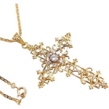 Filigree cross Solid 18K Yellow Gold with chain Natural diamonds religious pendant fine gold vintage necklace