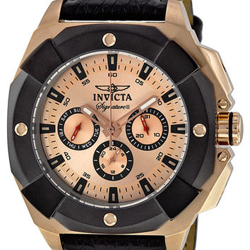 Invicta Signature II Champagne Dial Leather Mens Watch 7291