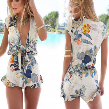 Sexy Deep-V Knotted Flower Print Jupmsuit Frills Shorts