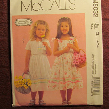 SALE Uncut McCall's Sewing Pattern, 5032! 6-4-8 Girls/Kids/Ruffles & Lace Treasured Collection/Flared Dress/Short sleeve dress/Sleeveless Su