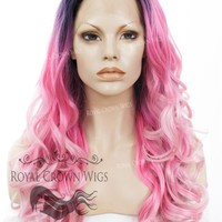 "24 inch Heat Safe Synthetic Wig Lace Front ""Rani"" with Curly Texture in Rooted Pink Ombre"
