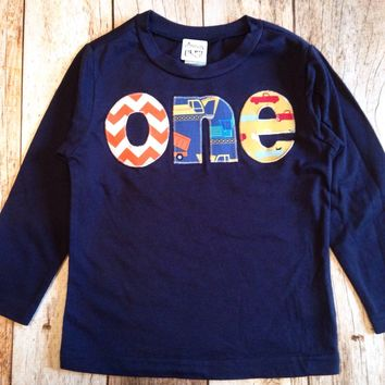 lowercase one Long Sleeve Birthday Shirt  in Navy with orange chevron, construction truck, pickup trucks for 1 year old