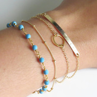 Turquoise Bead Bracelet, Genuine Turquoise Beads, Layering Bracelet, Gold or Silver