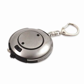 Brushed Stainless Steel Key Ring with LED Light - Engravable Gift Item