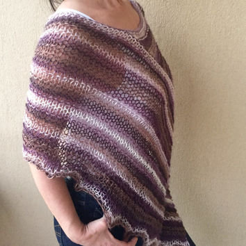 Burgundy knit winter poncho, loose knit poncho, long slouchy top, womens knit poncho, gift for her