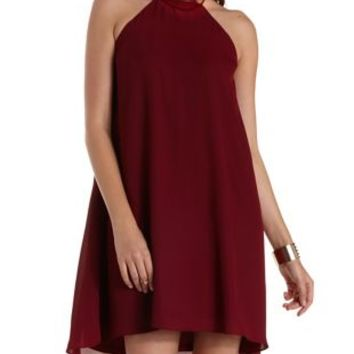 Burgundy Gold-Banded Halter Shift Dress by Charlotte Russe
