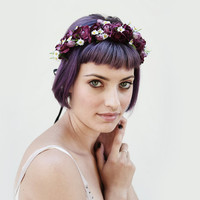 Magenta Rose & Wild Daisy Flower Crown - Radiant Orchid, Burgundy, Flower Crown, Floral Crown, Homecoming, Flower Headband, Boho Accessory