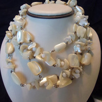 Mother of Pearl Shell & Seed Pearl Vintage Beach Tropical Double Necklace
