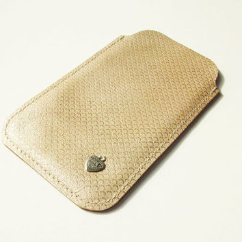 Gold Leather Iphone 5 / Iphone 5S Sleeve, Slipcover